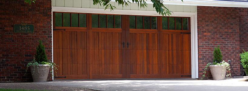 Premier Carriage House Wood Overlay Garage Door w/Long Madison Windows