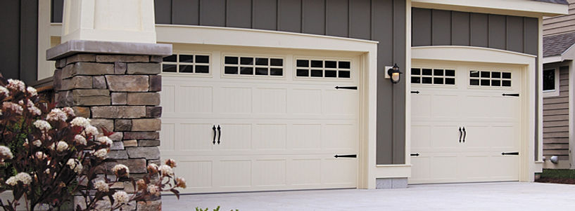 Stamped Steel Carriage House, Short Panel Garage Door w/Stockton Windows