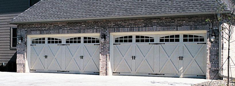 Premier Carriage House Overlay Garage Door w/2 Piece ARched Madison Windows