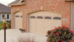 Steel Garage Door, Raised, Long Panel in Sandstone with Optional Cascade Window Inserts