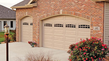 Steel Garage Door, Raised, Long Panel in Sandstone with Optional Cascade Window Inserts