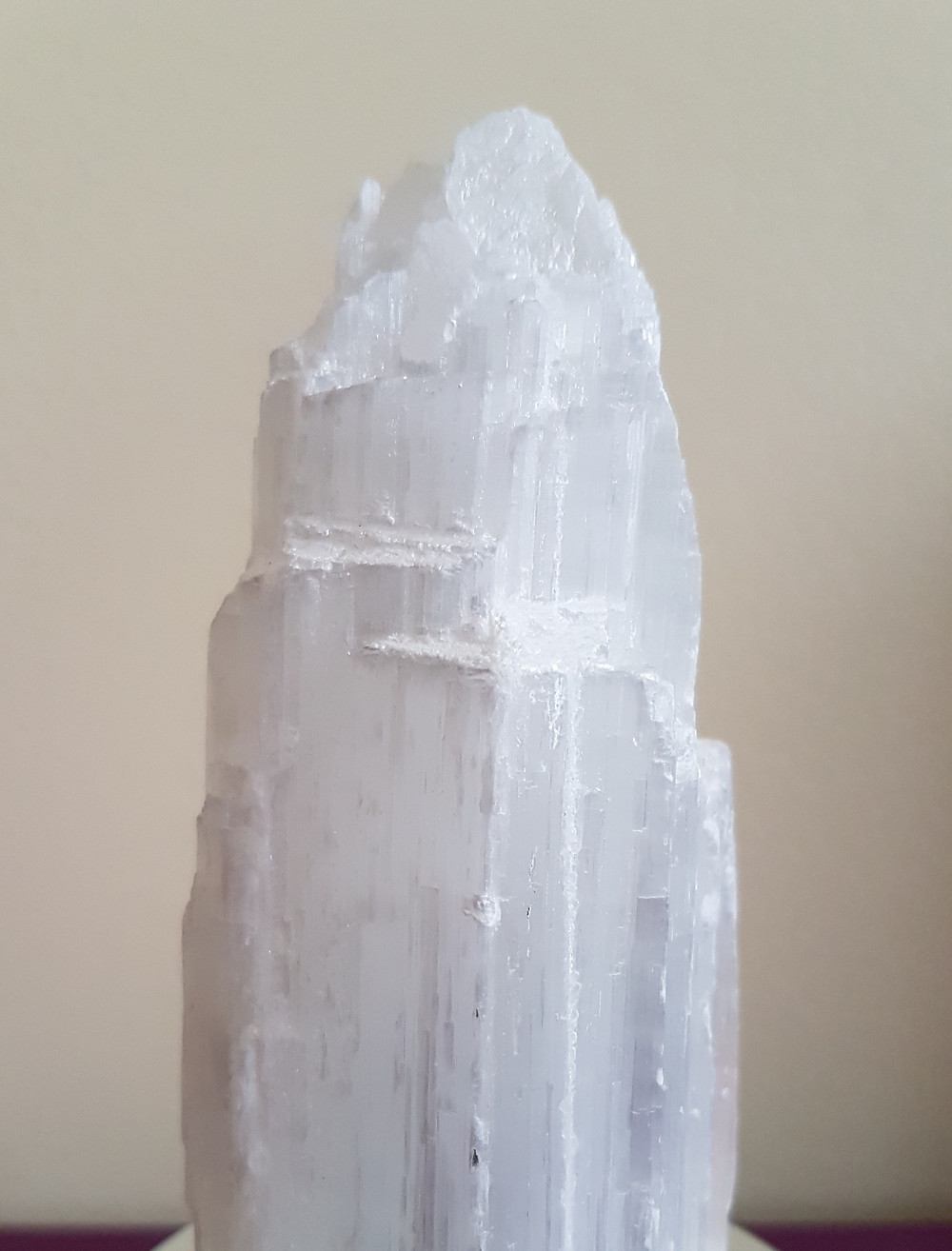 Upright striated Selenite crystal