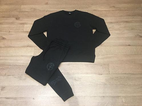 DLMTGCLOTHING lifestyle black on black tracksuit