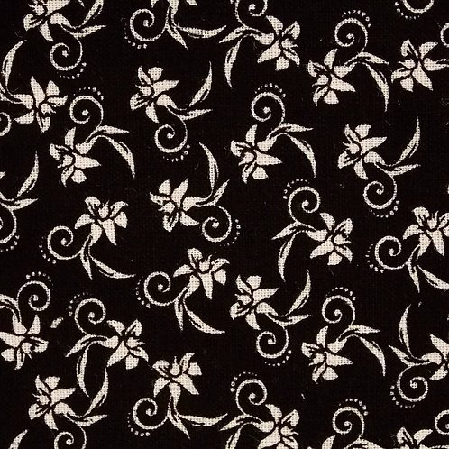 1 yard black with white flowers fabric