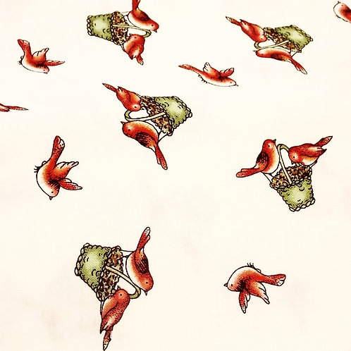 1 yard white with red birds fabric
