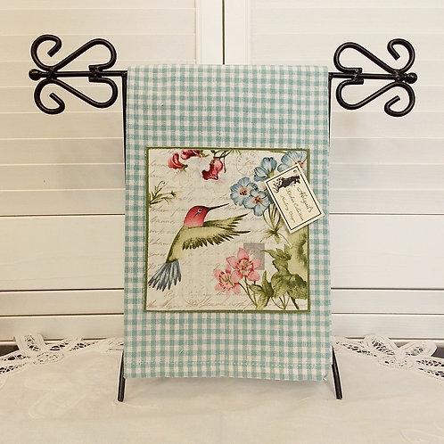 Aqua Check Humming Bird Towel