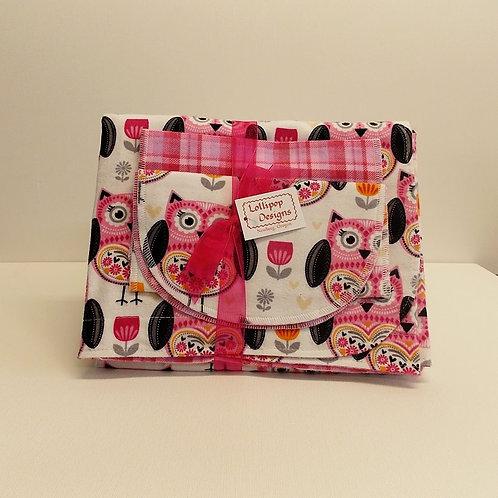 Hot Pink Owls Blanket Set