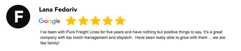 Google Review Pure Freight lines ltd.