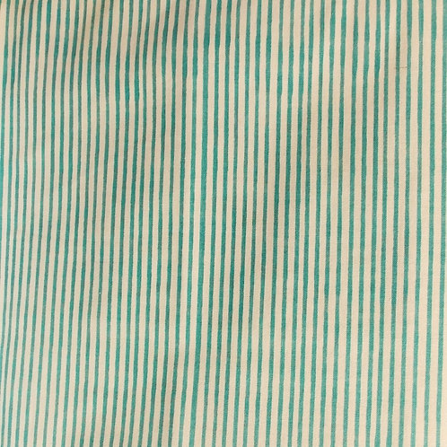1 yard teal stripe on white fabric
