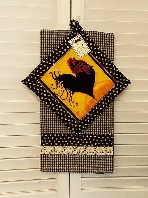 Black Rooster Towel Set