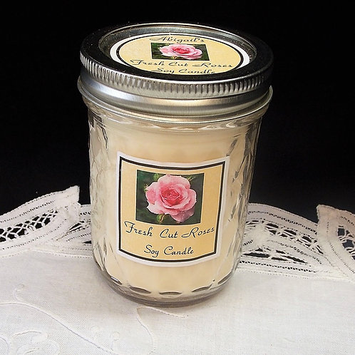 Fresh Cut Roses Large Jelly Jar Soy Candle