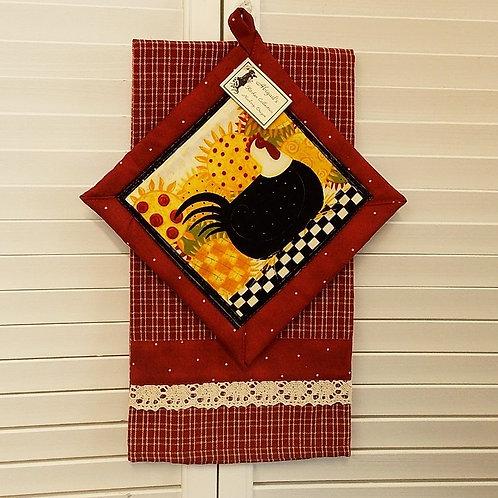 Red Sunflower Chicken Towel Set