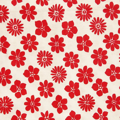 1 yard white with red flower fabric