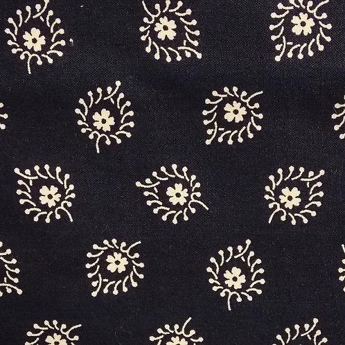 1 yard blue with cream print fabric