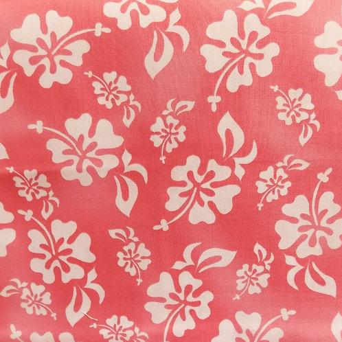 1 yard pink Hawaiian print fabric