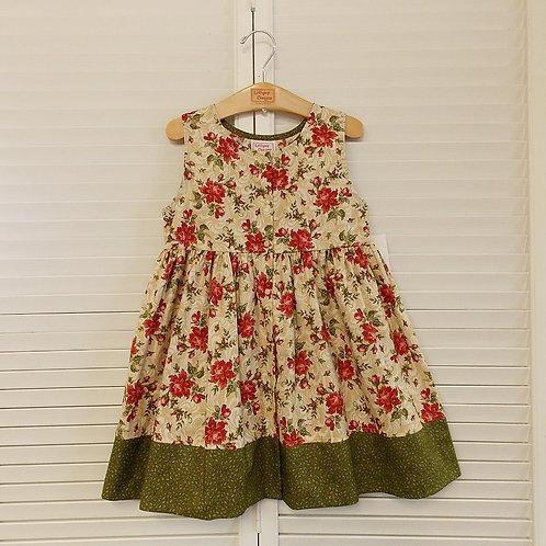 Antique Red Floral Dress