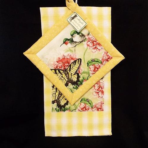 Yellow Humming Bird Towel Set