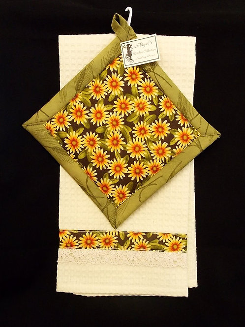 Yellow Daisy Towel Set