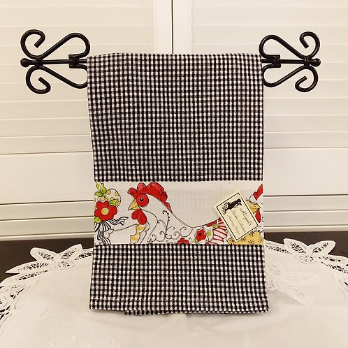 Black Check Chicken Border Towel