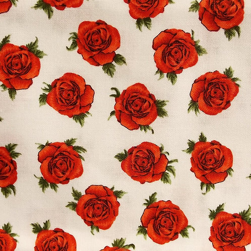 1 yard white with red roses fabric