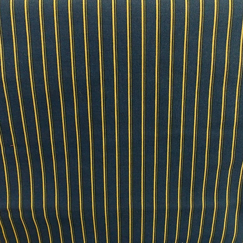 1 yard blue and yellow stripe fabric