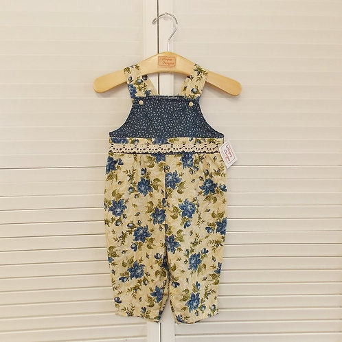 Antique Blue Floral Overall