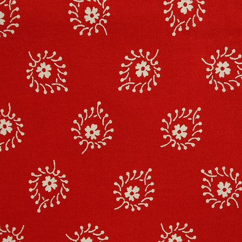 1 yard red with cream print fabric