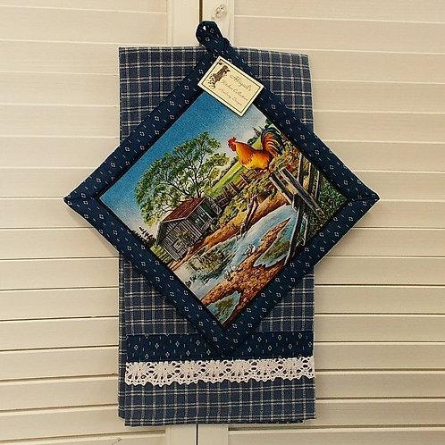 Blue Farm Rooster Towel Set