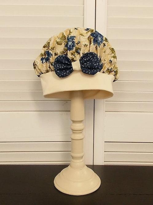 Antique Blue Floral Bakers Hat