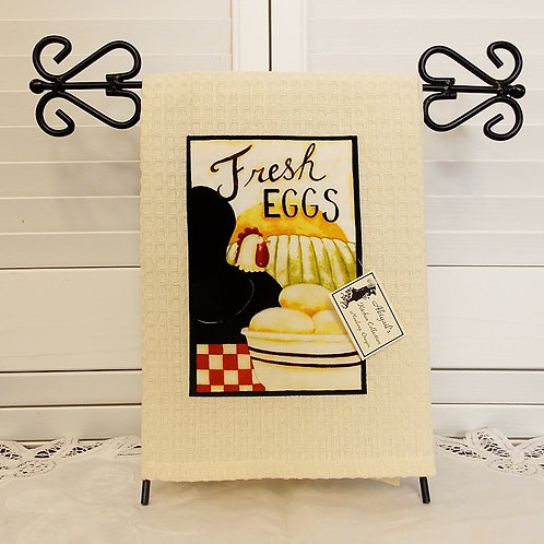 Cream Farm Fresh Eggs Towel