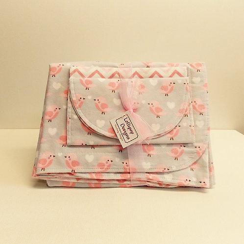 Pastel Pink Birds Blanket Set