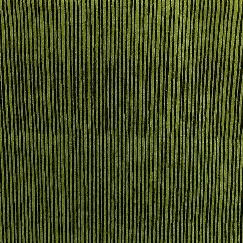 1 yard dark lime with black stripe fabric
