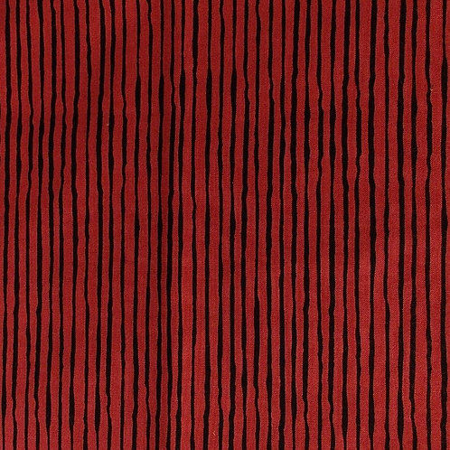 1 yard dark red with black stripe fabric