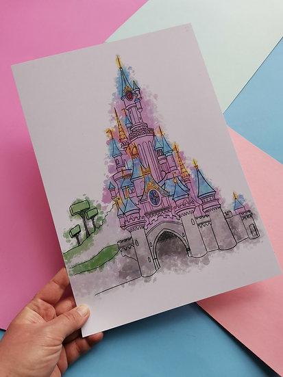 Colour Splash Paris Castle A4 Print