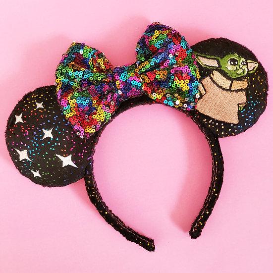 Black Glitter Tiny Jedi Plush Ears