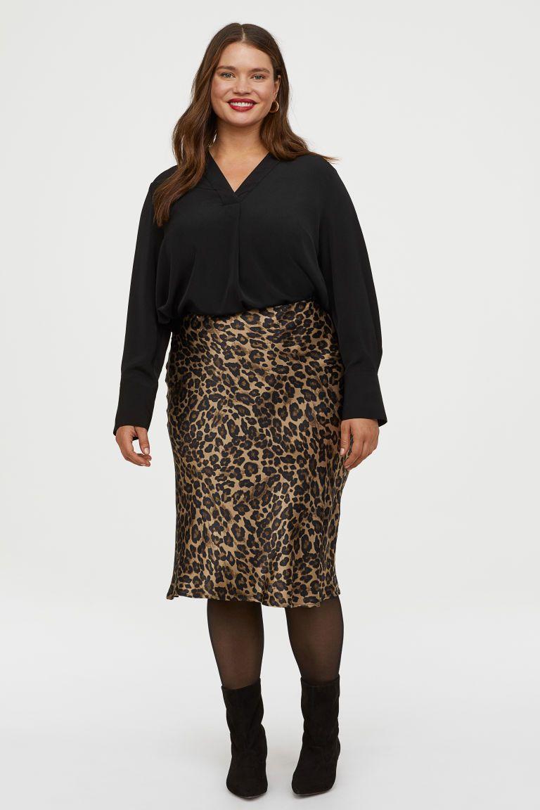 H&M Leopard Print Calf Length Skirt