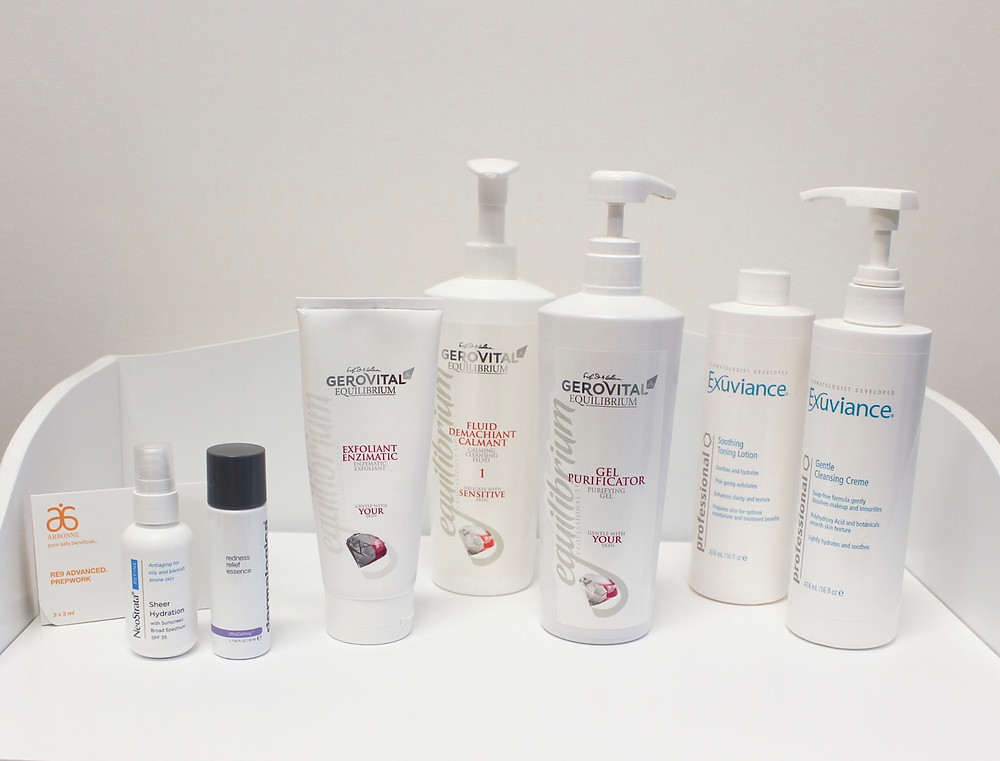 a range of products used by SkinFocus Aesthetics