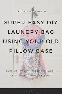 Klassic Karen DIY craft on creating a super easy laundry bag using old pillow cases