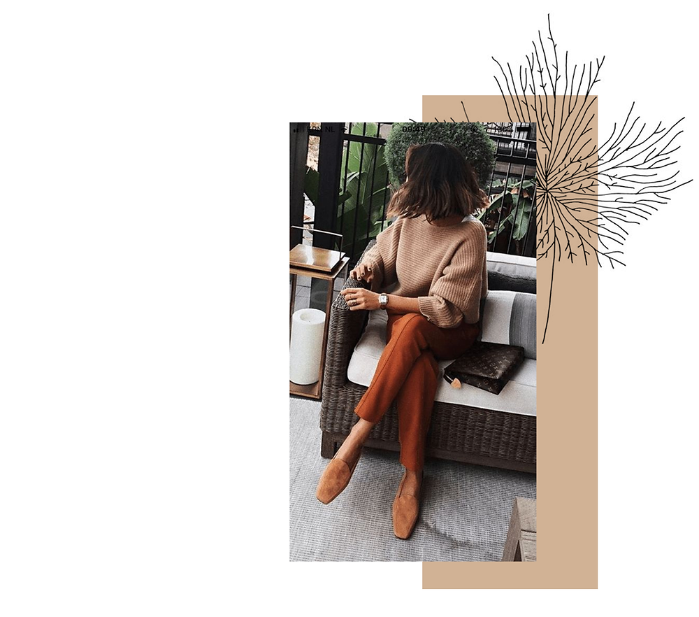 Klassic Karen on favourite winter trousers, third on the list are a pair of orange straight trousers or cigarette trousers