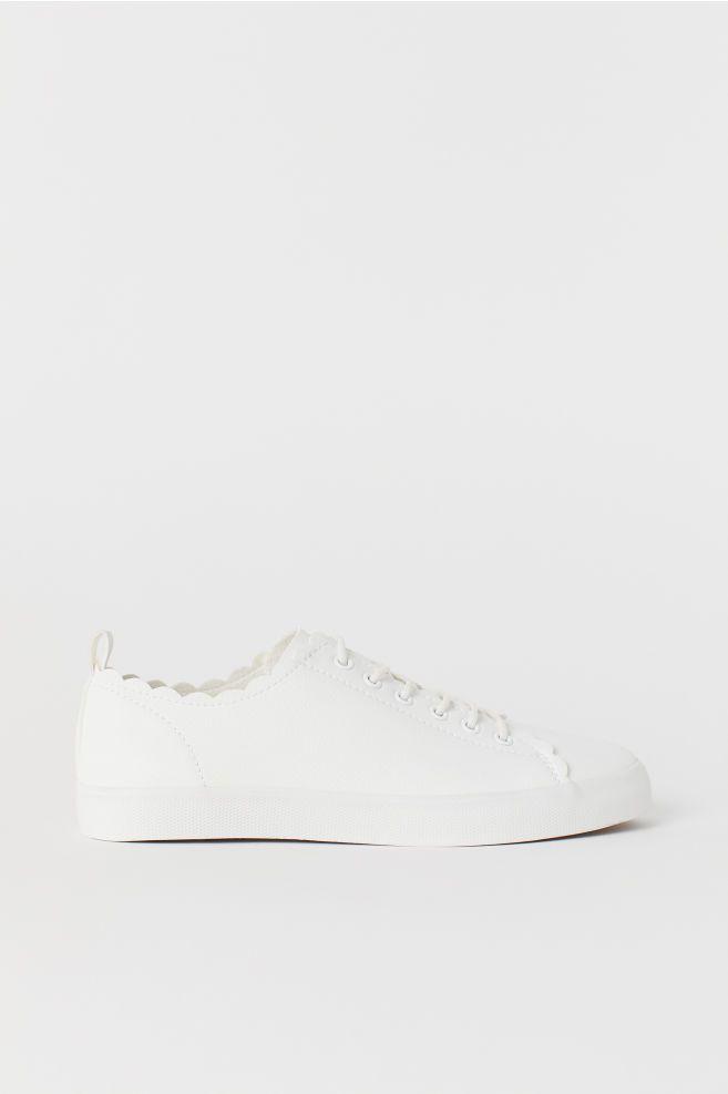 H&M Scalloped white shoes