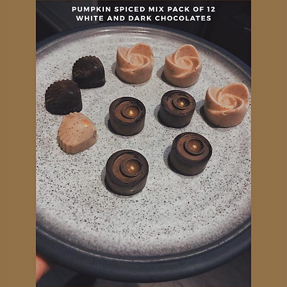 Assorted Pack of small pumpkin spice chocolates (white and dark chocolates)