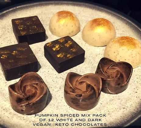 Assorted Pack of Vegan / Keto small pumpkin Spice Chocolates (white and dark)