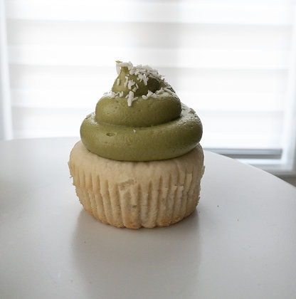 Coconut Cupcake with Matcha Cream Cheese Frosting
