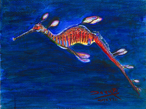 Sea Dragon - Acrylic on Paper 8x10