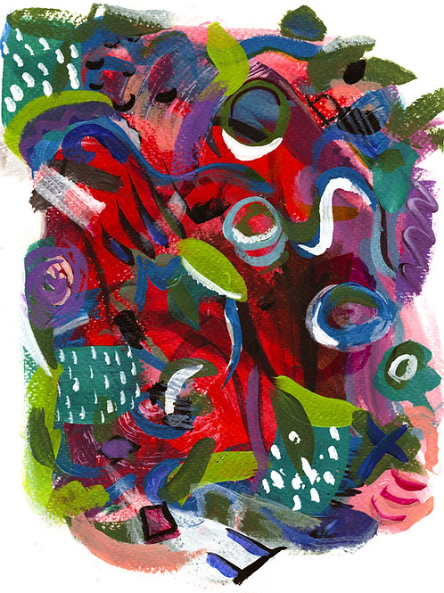 The Year In Review Abstract - Acrylic on Paper 8x10in