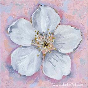 Cherry Blossom - Soothing Peace - Oil on Canvas 10x10in