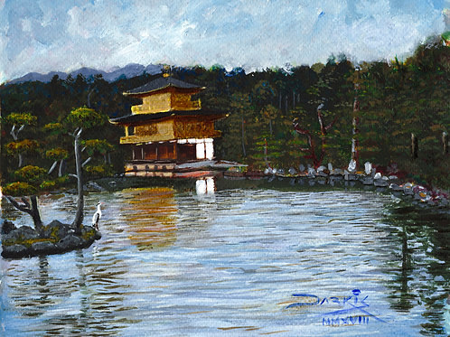 The Golden Pavilion - Acrylic on Paper 8x10in