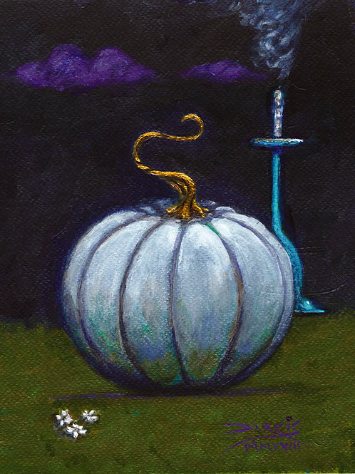 The pumpkin and the sneaky ghost - Acrylic on Paper 8x10in