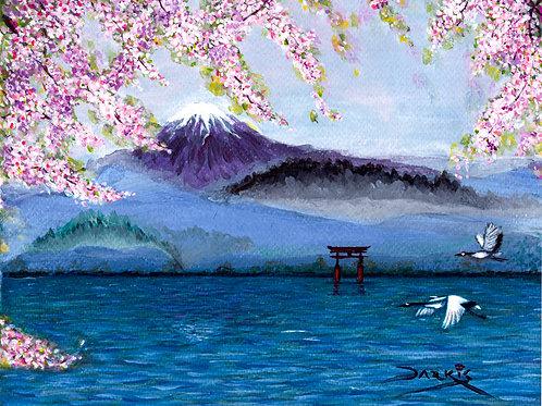 Mount Fuji - Acrylic on Canvas 8x10in