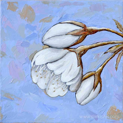 Cherry Blossom - Serenity Blue Original Oil Painting